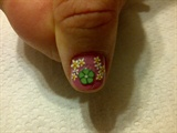Pink nail Green Flower 2