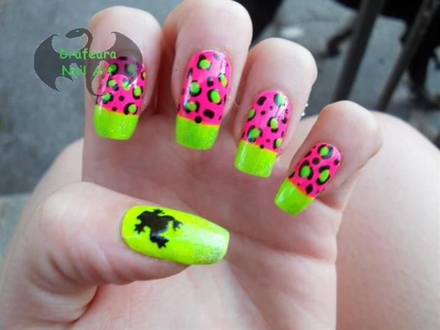 Pink n green leopard frog nail art gallery pink n green leopard frog prinsesfo Images