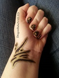 Golden Ink Nail Design
