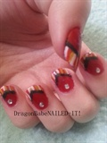 Warm Striped French Tip Nail Design