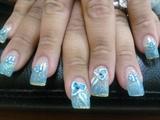 Blue Nails & 3D Flower