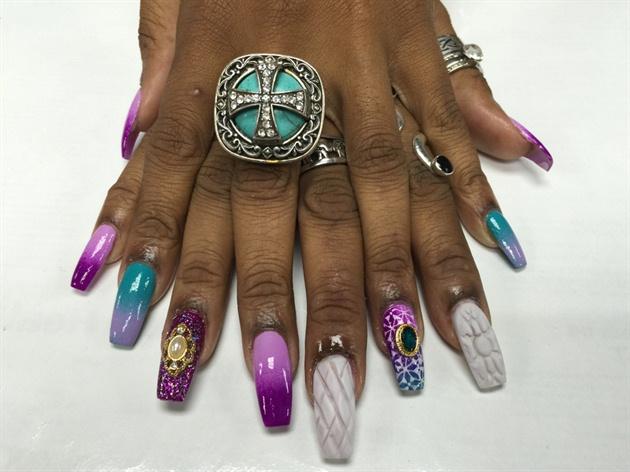 Purple Ombré & White