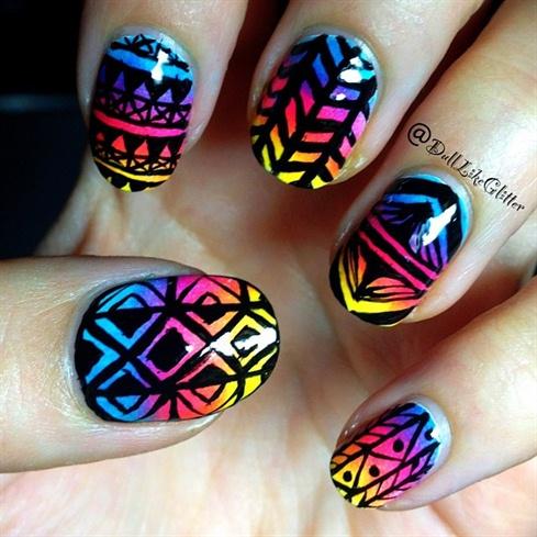 Rainbow Gradient Black Tribal