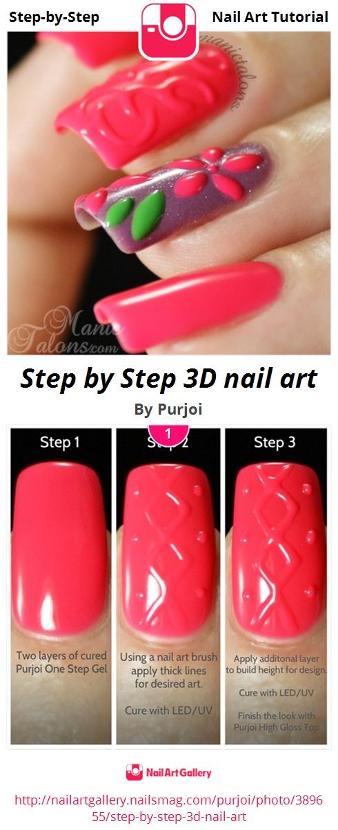Step by Step 3D nail art - Nail Art Gallery