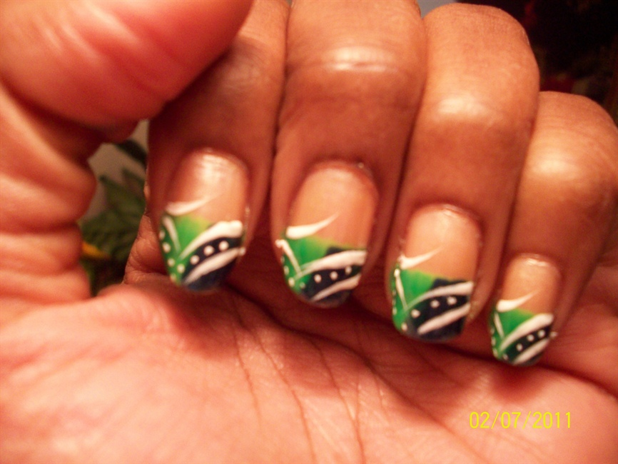 Lime Green, Navy Blue and white - Nail Art Gallery