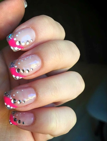 Pink Side French & Rhinestones
