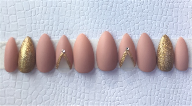 Nude Matte And Gold Swarovski Diamonds