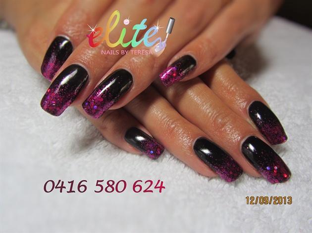 Black Gloss and Cerise Glitter Tips