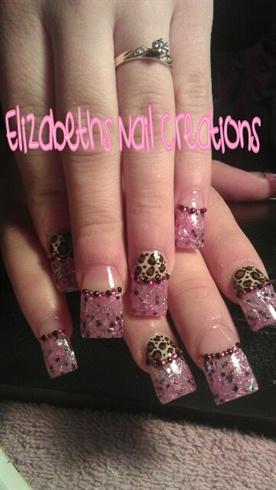 glittery nails w/ cheetah