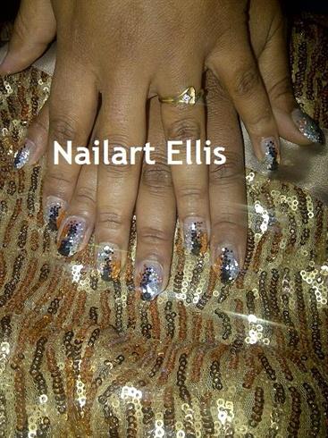 black gold silver glitter acrylic nails