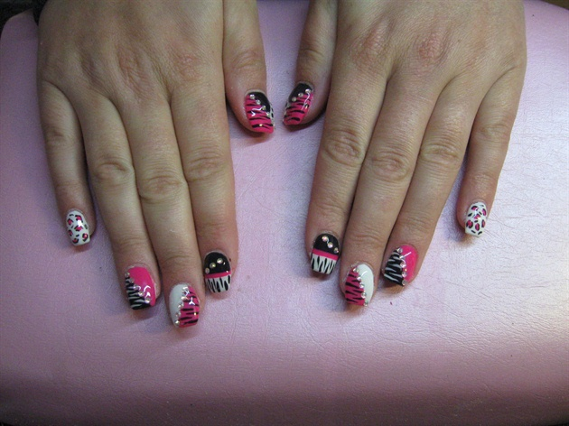 Leopard Zebra Nails Pink Black White Nail Art Gallery