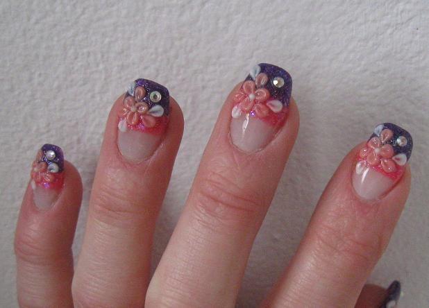 purple pink flower acrylic nails