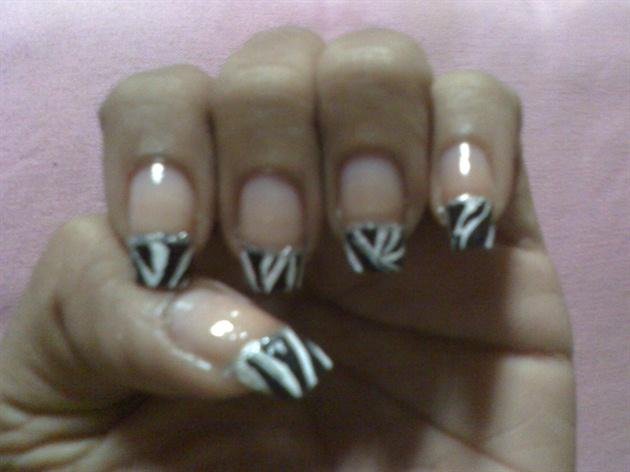 zebra nails Hand Painted