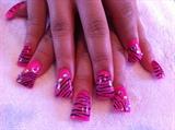 pink wide zebra nails