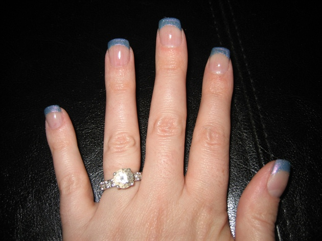 Blue French Angel Love Gel Nails - Nail Art Gallery