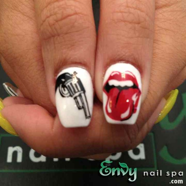 Gun and mouth nail art nail art gallery prinsesfo Image collections