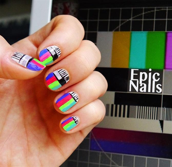 TV Test Pattern Nail Design