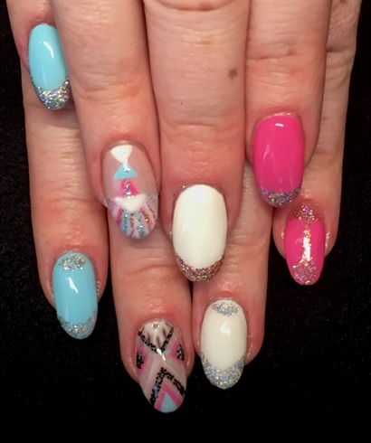 Acrylics With Free Hand Nail Art