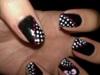 black w/ white polka dots & bow