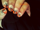 Orange corset nail art