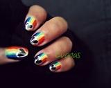 Rainbow Love nail art