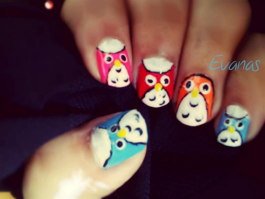 DIsco owl nail art - Nail Art Gallery