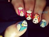 DIsco owl nail art