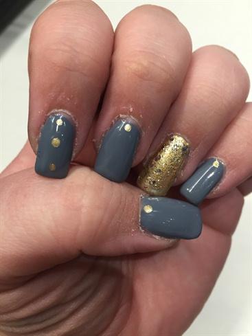 Grey And Gold Nails