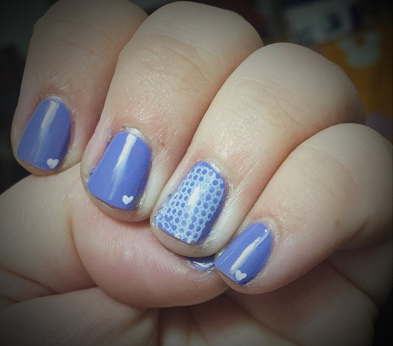 Blue Nails With A Little Heart