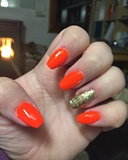 China Glaze Orange And Gold Ring Finger