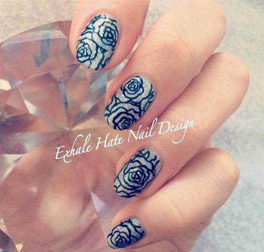 Glittery Floral Gel Polish