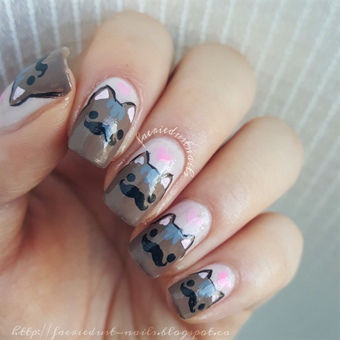 Mustache Cat Nails for Movember