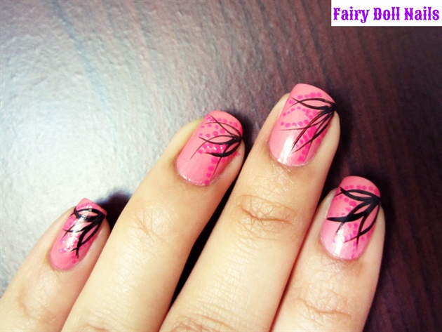 Pink and Black Nail Art - Pink And Black Nail Art - Nail Art Gallery