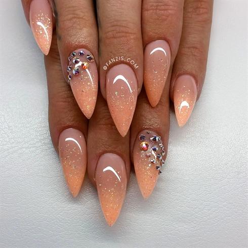 Peach Coral Glitterfade