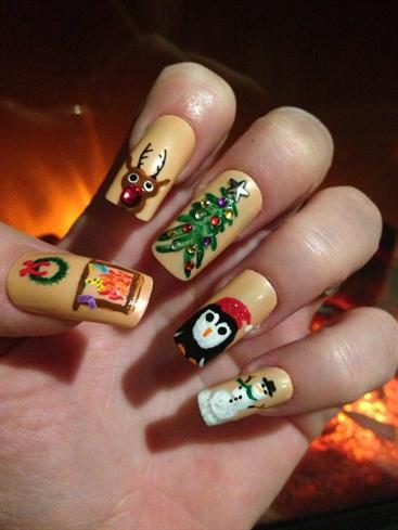 Christmas Nails Characters Rudolph Santa