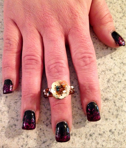 Vampy Black Glitter Nails