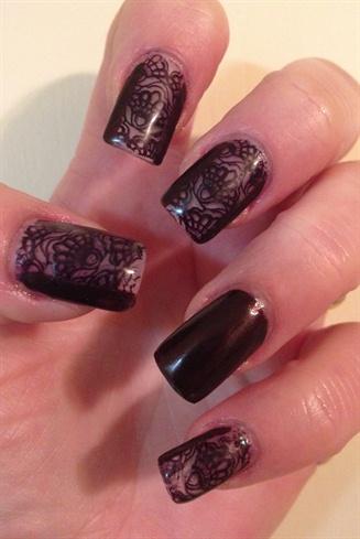 Vampy Lace Nails By FDLNAILS.COM