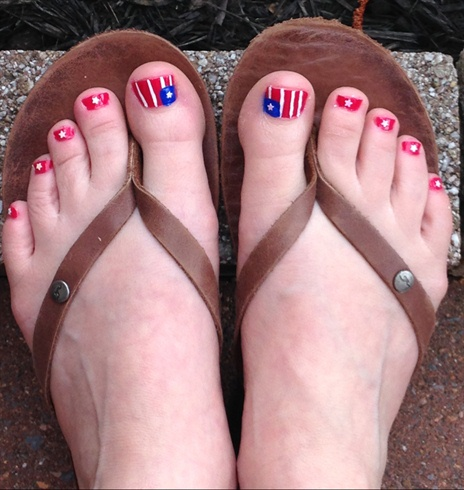 Patriotic Pedicure Memorial Day Fourth O Nail Art Gallery