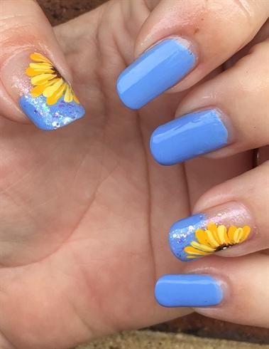 Sunflower Design Nail Art Gallery