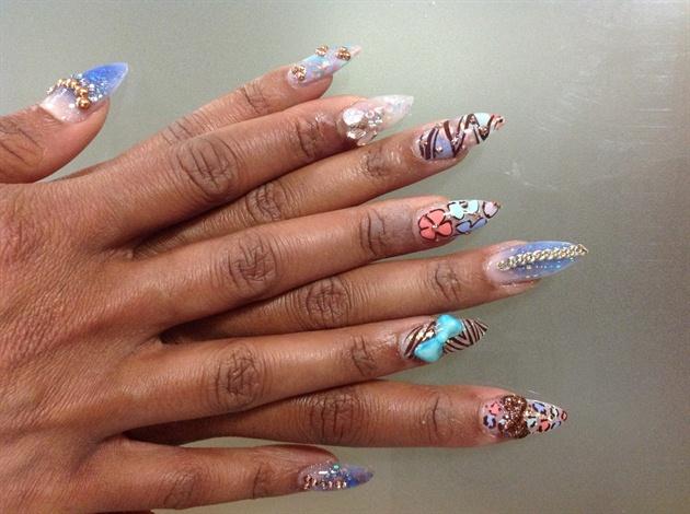 Stiletto nails pastel ,
