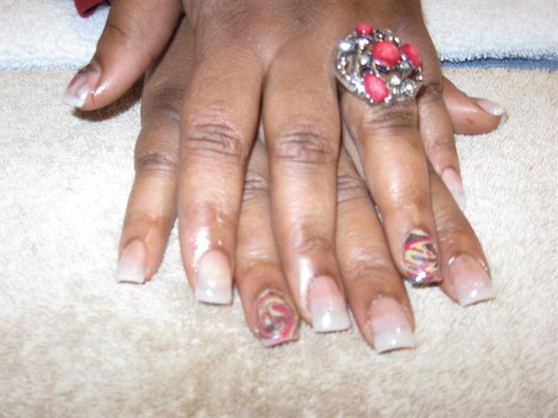 Natural Acrylic Nails With Water Marble Nail Art Gallery