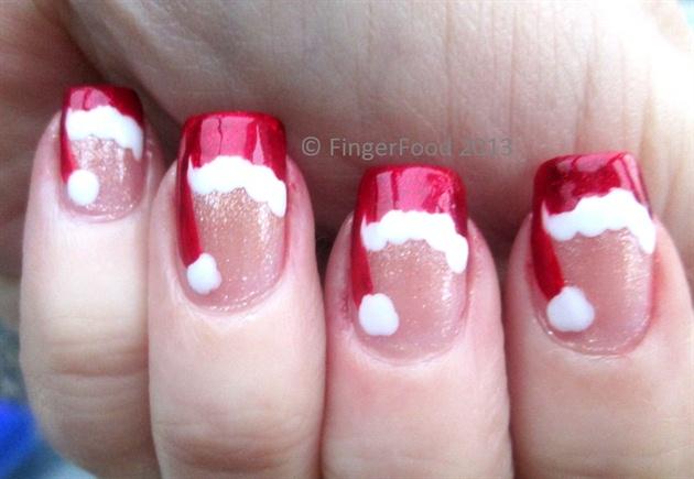 Cute little Santa hats - Cute Little Santa Hats - Nail Art Gallery