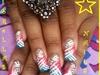 Blue & Dark Pink Nail Art