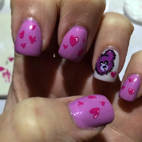 Teddy Bear Valentine day Nails