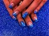 hand paint blue aqua marble zibra
