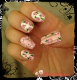Vintage inspired floral cameo nails
