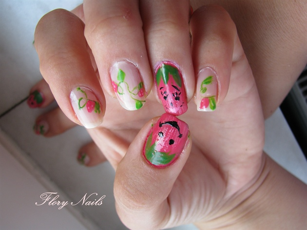 Strawberries on my nails