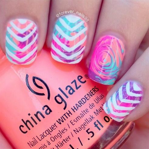 Neon Swirl Nails