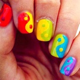 Rainbow Yin Yang Nails