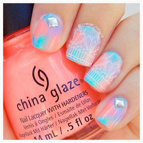 Summer Lace Nails